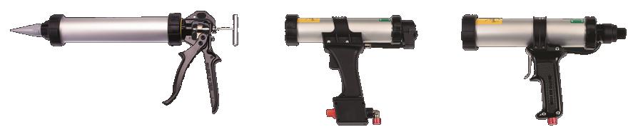 la gamme de pistolets de dosage mono-composants. Composée à 100% de produits COX™.